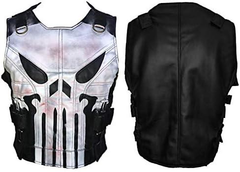 Men s Skull Logo War Black Biker Style Tactical Leather Vest Jacket L product image