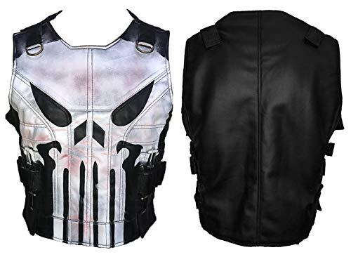 Men's Skull Logo War Black Biker Style Tactical Leather Vest Jacket (XL)