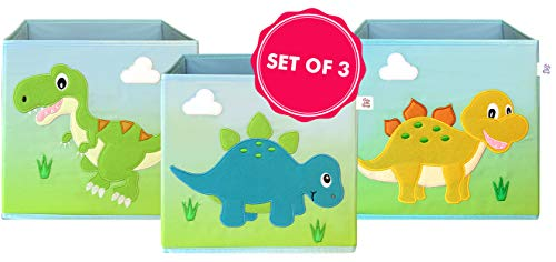LOVELY LITTLE THINGS - Set of 3 Dinosaur Storage Bins Foldable - Toy Box Collapsible Cube - Boxes for Shelves - Storage Box Decorative - Kids Toys Organizer - Dino decor