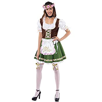 Women's German Oktoberfest Costume Set With Rose Headband for Halloween Dress Up Party and Beer Festival  Medium