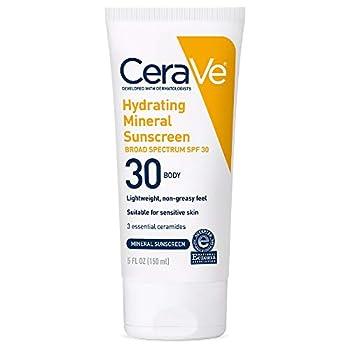 CeraVe 100% Mineral Sunscreen SPF 30 | Body Sunscreen with Zinc Oxide & Titanium Dioxide for Sensitive Skin | 5 oz 1 Pack