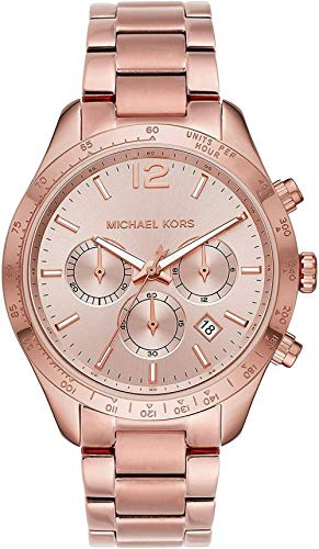 Michael Kors Layton - Reloj cronógrafo clásico con Correa de Acero Inoxidable Tono Oro Rosa para Mujer - MK6796