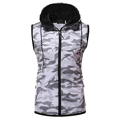 ZYUD Mens Sleeveless Drawstring Sweatshirt Hoodies Zip Up Vest with Pockets Mens Boys Sleeveless Hooded Zipper Sweatshirt Hoodie Casual Gilet Jumper Top Sleeveless Sweatshirt Hoodies Top