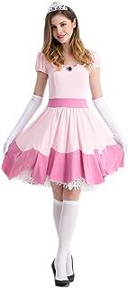 Ugoccam Adult Princess Peach Women Princess Party Cosplay Dress Halloween Costumes
