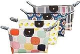 4 Bolsas de Aseo para de Viajes Plegables - Organizadores de Maquillaje Forma de Bollo de Masa - Estuche Cosméticos Portátil - Bolsa para Lavado en Colores Rosa, Amarillo y Azul