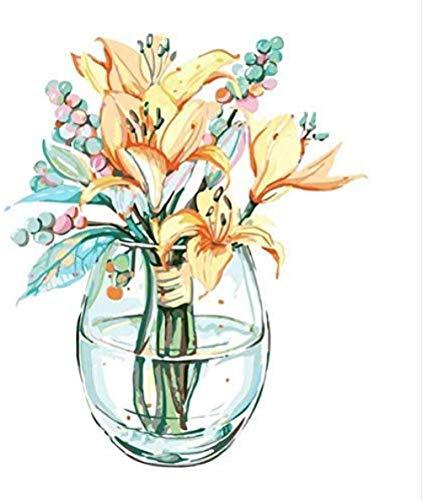 LSDEERE olieverfschilderij op cijfers DIY digitaal schilderen op cijfers pakket mint glazen fles kleur muurkunst afbeelding gift frameloos 40x50 cm