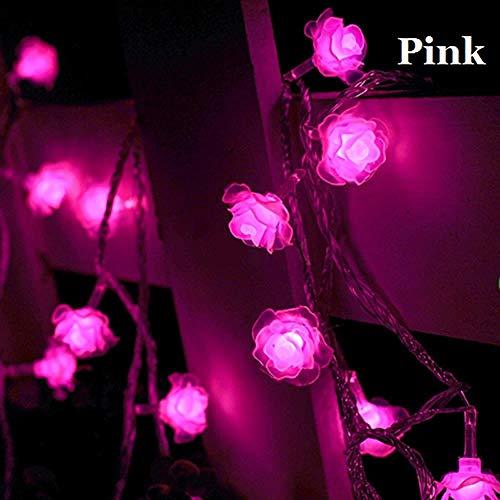 GFSDDS Luci Di Natale Luci A Led A Forma Di Rosa Corona Di Fiori Decorazione Per Feste Di Natale All'Aperto, Rosa, 20 M 200 Led, Spina 110 V Usa