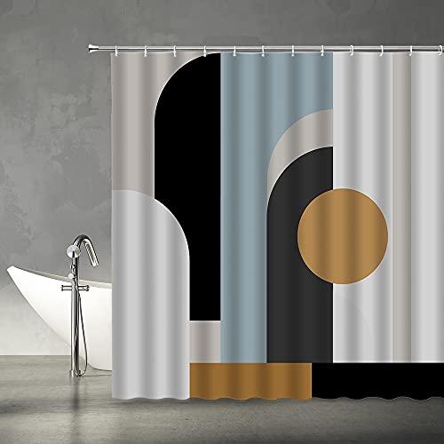 "AMFD Mid Century Shower Curtain Black Gray Tan Abstract Sun Geometric Pattern Neutral Minimalist Rustic Modern Arch Fabric Bathroom Decor Set Include Hooks,(70"" WX70 H)"