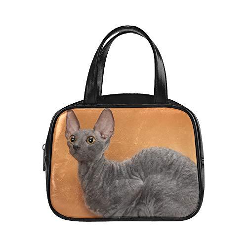 Mode Frauen Tasche Cornish Rex Cat Breed Mutant Womans Handtaschen Täglichen Einkaufstasche Pu-leder Top Griff Satchel Mädchen Mode Taschen