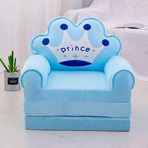 FKING Folding Children's Sofa, Cartoon Kids Recliner Upholstered Lazy Sofa For Boys And Girls Gift Washable Cover Armchair-blue