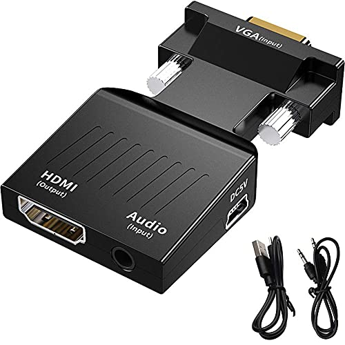 Portable VGA to HDMI Adapter/Converter with Audio (Old PC to TV/Monitor with HDMI), Male VGA to HDMI Video Adapter for TV, Computer, Projector with Audio, Power Cable -D-Sub, 15-pin