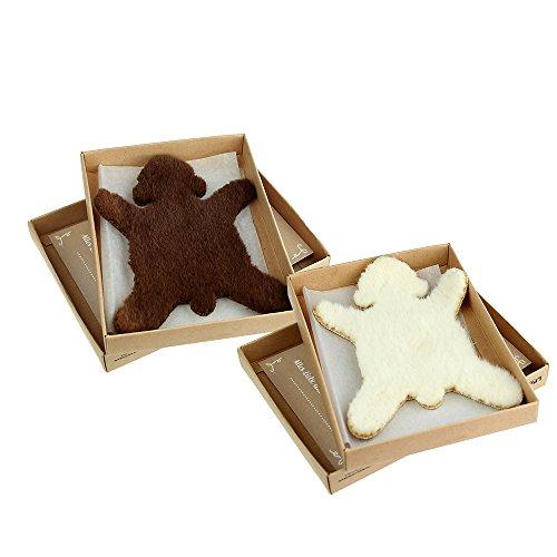 Casa Vivente – 2er Set Dickes Fell – Braunbär – Eisbär – Brauner und weißer Stoff – Mit Geschenkbox und Grußkarte – Glücksbringer bei Liebeskummer und Stress – Geschenk für Frauen und Männer