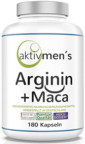 aktivmen´s Arginin + Maca hochdosiert - für stark aktive Männer, von Experten* geprüft - 100{b22539d1349c994df6b0344dc8c09b1694cf81df6e5ebfcc2205735f2983b65c} vegan, 180 Kapseln, L-Arginin Base 3600 + Maca 6000 (Maca Wurzel Extrakt 20:1) 1 Dose (1 x 140 g)