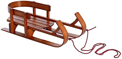 LBAN Wooden Sled Outdoor Wooden Sled for Kids Solid Wood Seat with Water Based Protective Lacquer Frame