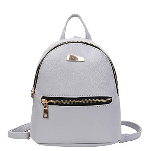 Ghosthunter Backpacks Mini-Rucksack aus PU-Leder für College, Schulrucksack, Freizeit-Reisetasche #3, Grau - grau - Größe: Einheitsgröße