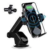 Wireless Car Charger Mount,HonShoop Auto-Clamping Qi 10W7.5W Fast Charging Car Phone Mount Air Vent Compatible with iPhone12/Mini/11/Pro/Max/XR/Xs/X/8/8Plus+SamsungS10/S10+/S9/S9+/Note and More(Black)