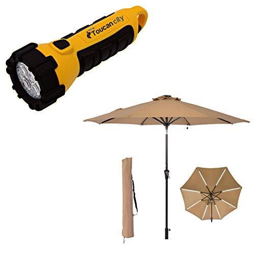Toucan City LED Flashlight and Boyel Living 9 ft. Beige Patio Umbrella Solar Light Outdoor Market Umbrella TJAU-LED-RED
