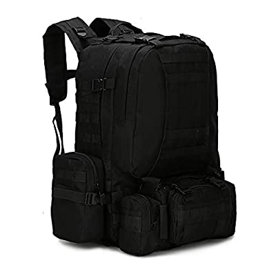 WintMing Military Tactical Backpack 45+10L Army 3 Day Assault Pack Molle Camping Hiking Rucksack Traveling Daypack (B08-Black)