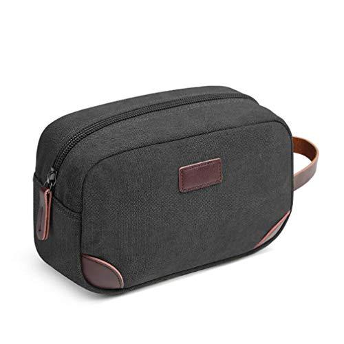 Kaned Travel Wash Bag Vintage Canvas Toiletry Compartiments Zip Makeup Organizer Portable Cosmetic Storage,Noir