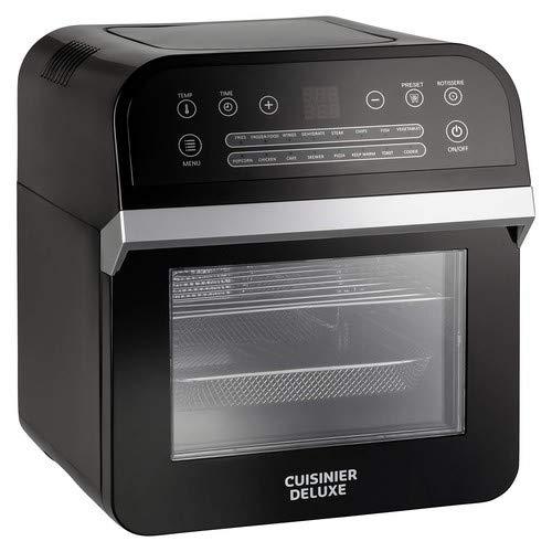 Cuisinier Deluxe 12 liter Air-Fryer hetelucht-friteuse 1600W frituurogen heteluchtfriteuse, zwart