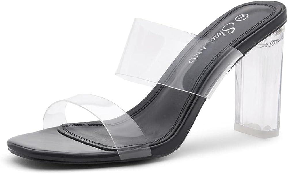 Shoe Land Brienna Women's Clear Block Heeled Slides Transparent Strap Dress High Heel Sandals