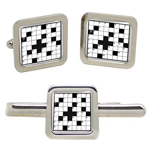 Giftshop UK Kreuzworträtsel Quadratische Manschettenknöpfe und Krawatte Clip Set
