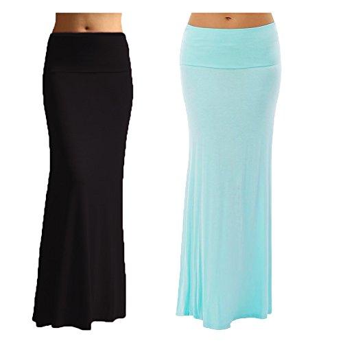 Dinamit Jeans - Falda maxi de elastano para mujer (2 unidades), Negro Azul, M
