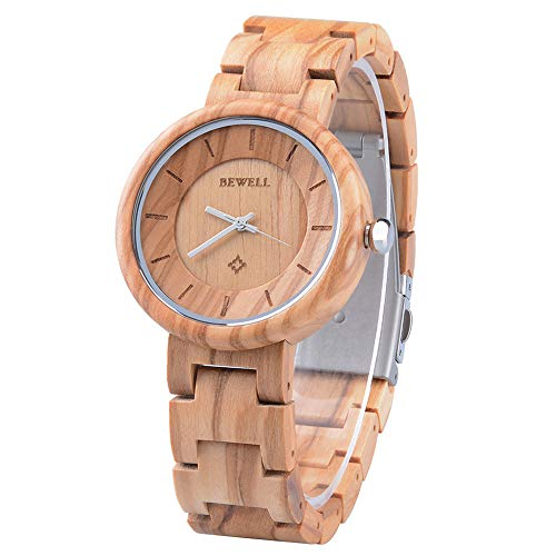 BEWELL Damen Armbanduhr Analog Japanisches Quarzwerk mit Holzarmband Rund Elegant Holzarmbanduhren für Damen (Gold)