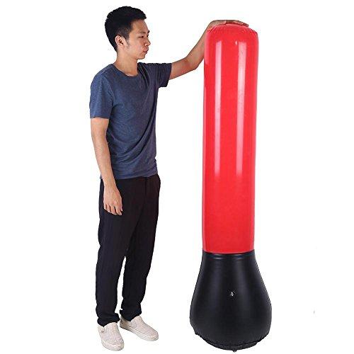 Zerone Saco de boxeo inflable de 160 cm de alto + bomba de pie gratis, saco de boxeo inflable, soporte de torre de potencia, saco de boxeo, entrenamiento de velocidad