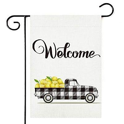 Pickup Lemon Welcome Garden Flag,Vertical Double Sided 12.5 x 18 Inch, Spring Summer Burlap Yard Outdoor Decor