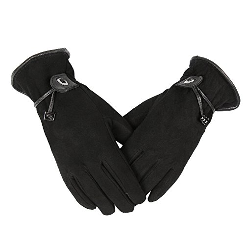 OZERO Winter Gloves for Women/Girl, Deerskin Suede Leather Cycling Bike Thermal Glove - Sensitive Touch Screen Fingertips and Silky Velour Fleece Lining - Warm Hand in Cold Weather (Black,Medium)