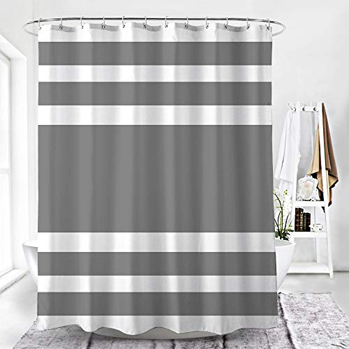 WELTRXE Stripe Fabric Shower Curtain with Hooks Waterproof Polyester Bathroom Curtain or Liner for Shower Stall, Bathtubs, 72 x 72 inches, Gray Stripe