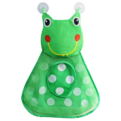 BESTOMZ sacchetto di archiviazione di giocattoli Mocio lavapavimenti di giocattoli da bagno stoccaggio di prodotti da bagno con ventose forti (Verde)