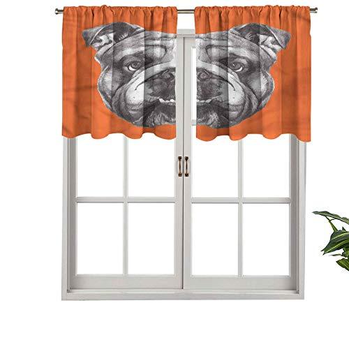 Hiiiman Cortinas cortas con cenefa de protección de privacidad Retrato de Bulldog Inglés, juego de 2, cortinas de ventana de 137 x 60 cm para baño, cocina, sala de estar