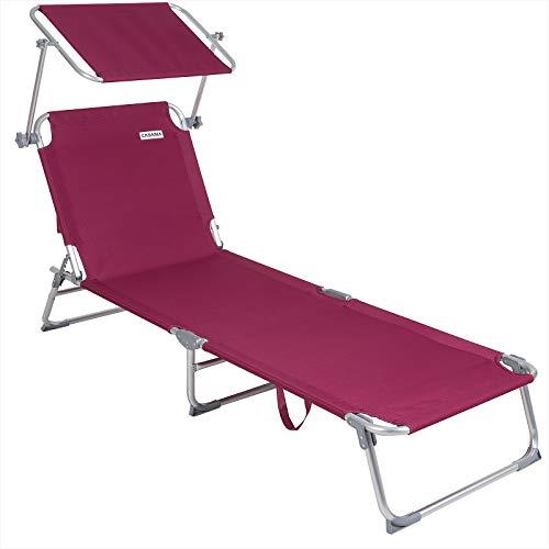 Casaria Silla Larga Ibiza Plegable con Visera de poliéster Color Rojo fácil de Transportar Playa E