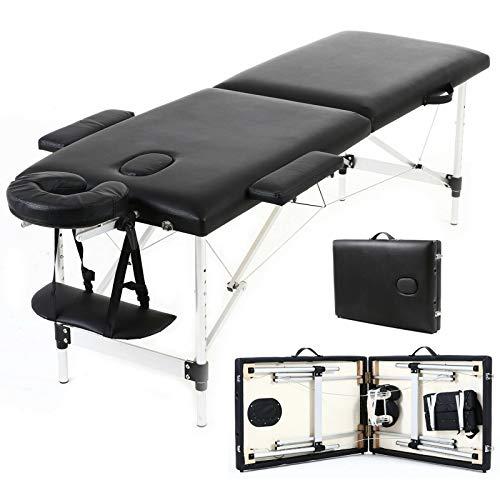 Massagetisch Ultra Facial Bed Tattoo Stuhl Salon Professional 2-teiliger Aluminium Klappmassagebett Beauty Spa Behandlungscouch mit Kopfstütze Armlehne & Tragetasche