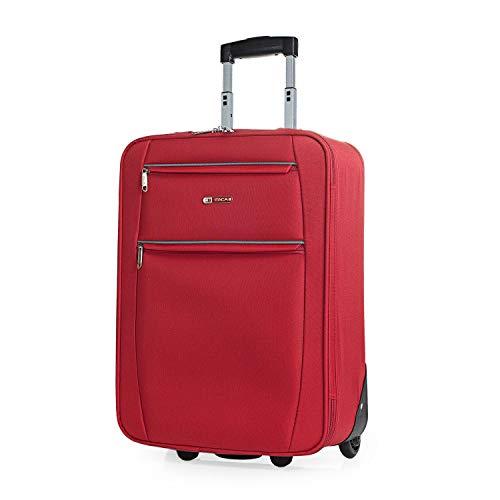 ITACA - Maleta Cabina de Viaje 2 Ruedas Trolley 55 cm de poliéster eva. Equipaje de Mano. pequeña semirígida cómoda y Ligera. Blanda. Calidad t71950, Color Rojo