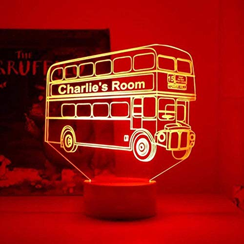 BTEVX Lámpara de ilusión 3D Luz de noche Lámpara de mesa 7 Color Touch Lámpara Control remoto USB Alimentación Decoración Regalos Retro Nostálgica Londres Bus Sleep Lights