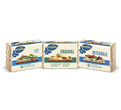 Wasa Fit, Fette Croccanti 100% Integrali + Original, Fette di Pane di Segale Croccante + Cracker Integrali