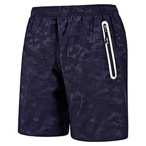 Short Homme Short pour Homme Sport Jogging et d'entraînement Fitness Pantalon Court Jogging Pantalon Bermuda Pochette de Rangement pour Fermeture Éclair (Bleu, M)