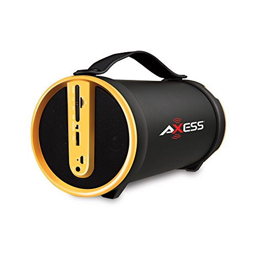 """AXESS SPBT1033 Portable Bluetooth Indoor/Outdoor 2.1 Hi-Fi Cylinder Loud Speaker with Built-In 4"""" Sub and FM Radio, SD Card, AUX Inputs in Yellow"""