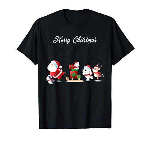 Weihnachtsmann, Pinguin, Eisbär, Rentier - Merry Christmas T-Shirt