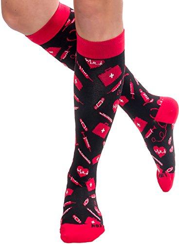 LISH Nurse Compression Socks for Women - Graduated 15-25mmHG Knee High Sport Socks (Medical Supplies, S/M (W's 5-7.5))