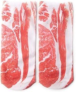 Calcetines 3D Vientre de cerdo Patrón de garra de hueso blanco Calcetines cortos Calcetines de impresión Calcetines rectos de verano de dibujos animados - Carne