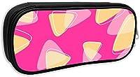 くろ ピンク三角形デザイン 筆箱 ペン袋 ペンケース化粧カバン文具収納 ポーチ 軽量 通学 旅行 かわいい 学生 多機能 シンプル 人気 男女兼用 3色入り