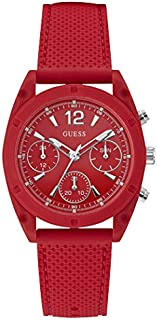 Guess Analog Sport Watch for Women, Polycarbonate Case, Red Dial