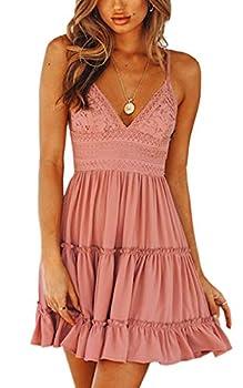 ECOWISH Womens V-Neck Spaghetti Strap Bowknot Backless Sleeveless Lace Mini Swing Skater Dress Pink-1 X-Large