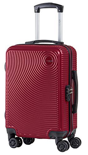 CABIN GO MAX 5512 - Trolley rigido in ABS 8 ruote 55x37x20 cm utilizzabile come bagaglio a mano di dimensioni standard. (Bordeaux)