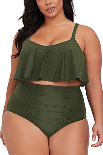 Sovoyontee Women's 2 Piece Plus Size High Waisted Swimsuit Bathing Suit Army Green 4XL