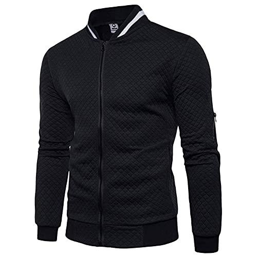 Veravant Sweat-Shirt Homme Manches Longues Pull Uni Zippé Bomber Blouson Veste Sport - Noir - Large